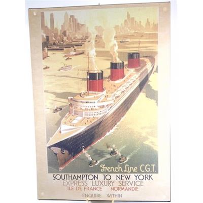 Plaque vintage Southampton to New-York ( 24,5 x 35 cm )